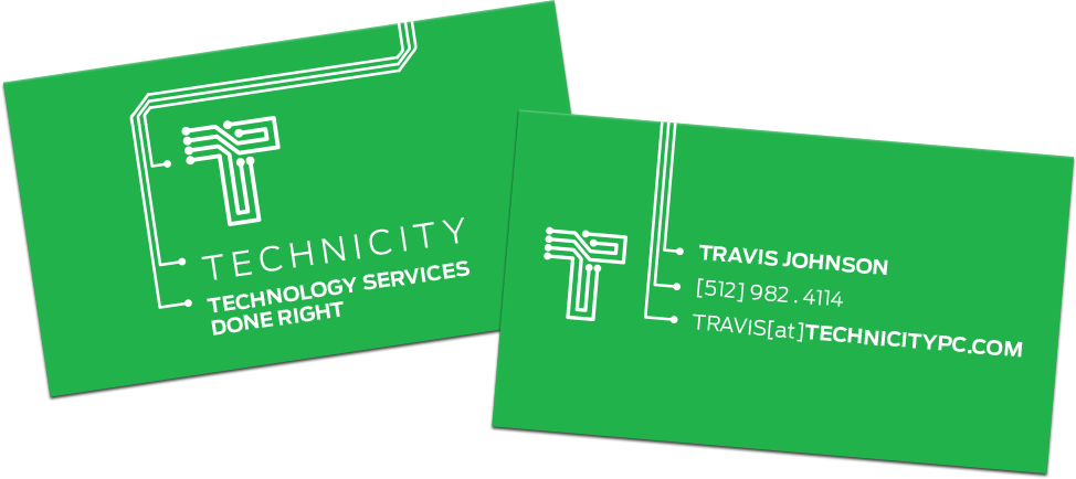 Technicity circuit board business cards